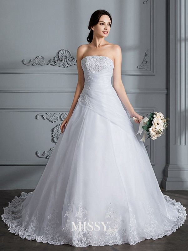 Ball Gown Strapless Sleeveless Court Train Organza Wedding Dresses