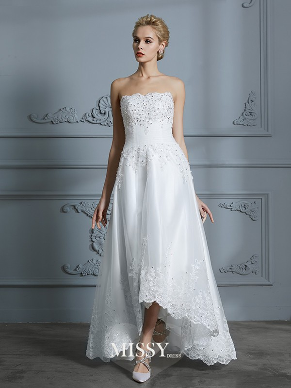 A-Line/Princess Sweetheart Beading Asymmetrical Tulle Wedding Dresses