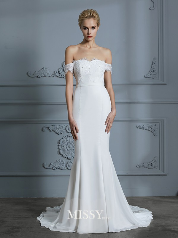 Trumpet/Mermaid Off-the-Shoulder Lace Chiffon Sweep/Brush Train Wedding Dresses