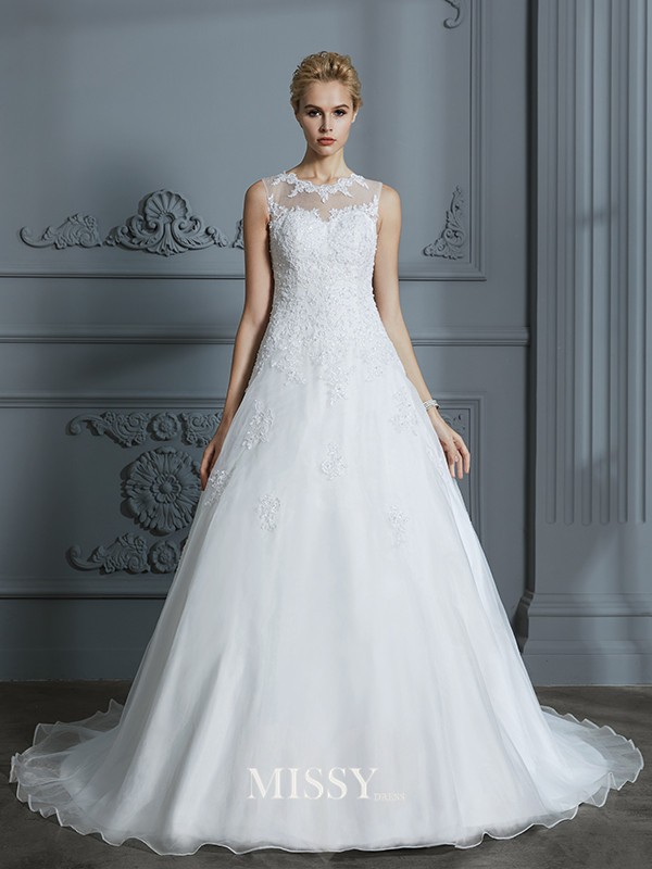 Ball Gown Scoop Organza Court Train Applique Wedding Dresses