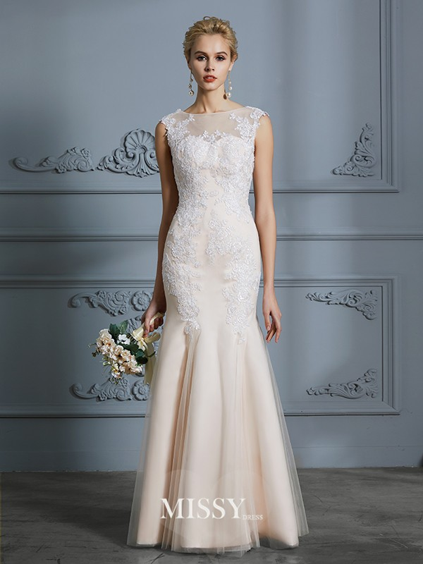 Trumpet/Mermaid Scoop Tulle Applique Floor-Length Wedding Dresses
