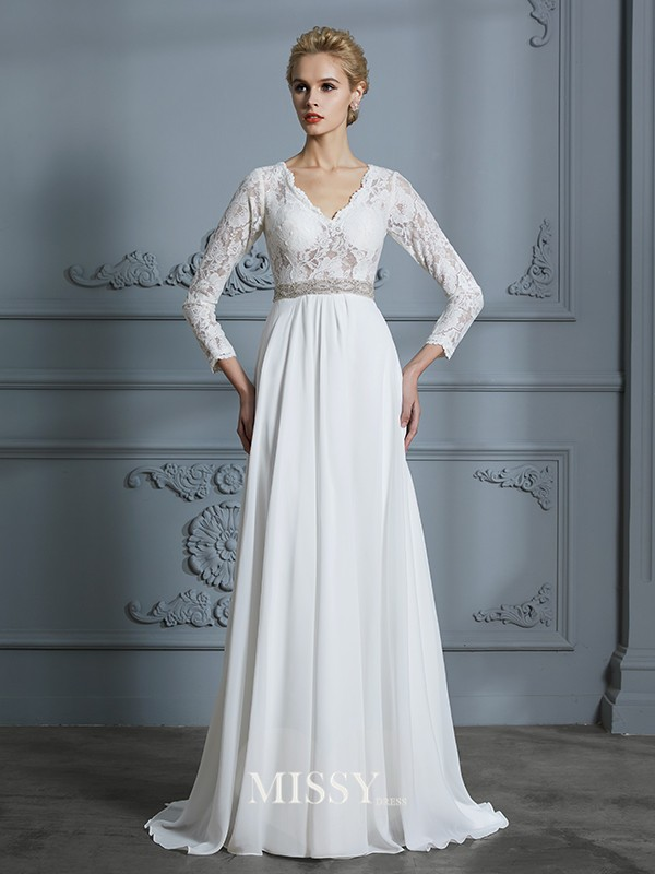 A-Line/Princess V-neck Lace Sweep/Brush Train Chiffon Wedding Dresses