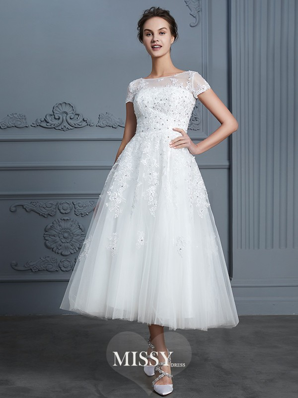 A-Line/Princess Scoop Beading Tea-Length Tulle Wedding Dresses