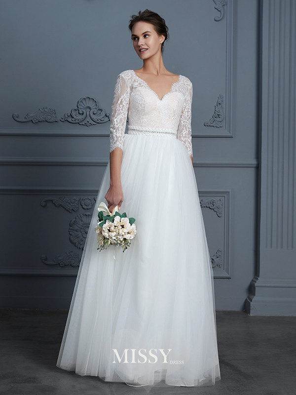 A-Line/Princess V-neck Lace Floor-Length Tulle Wedding Dresses