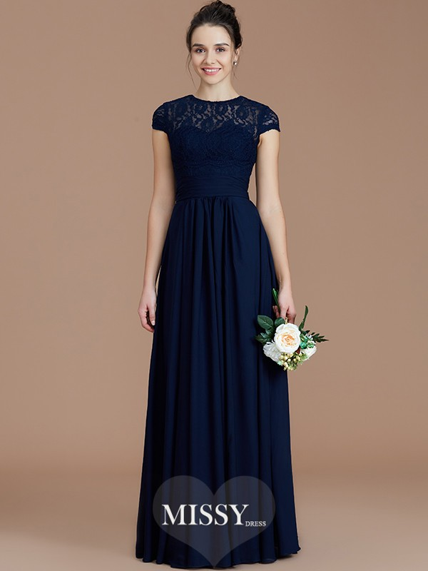 A-Line/Princess Jewel Short Sleeves Lace Floor-Length Chiffon Bridesmaid Dresses
