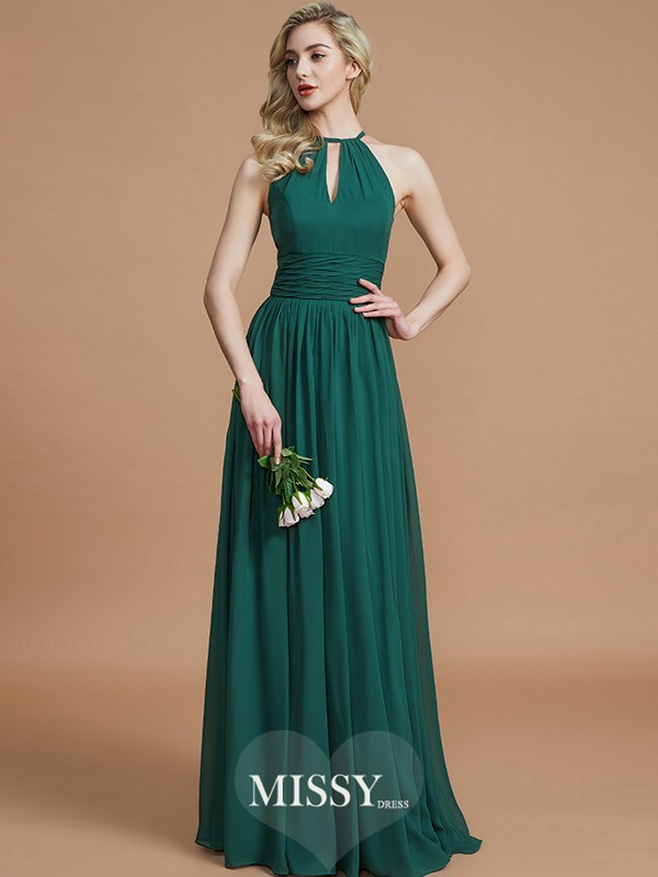 A-Line/Princess Chiffon Scoop Sleeveless Floor-Length Bridesmaid Dresses