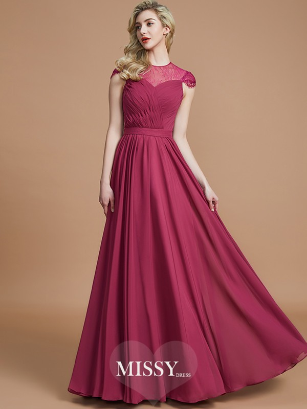 A-Line/Princess Scoop Short Sleeves Chiffon Floor-Length Bridesmaid Dresses