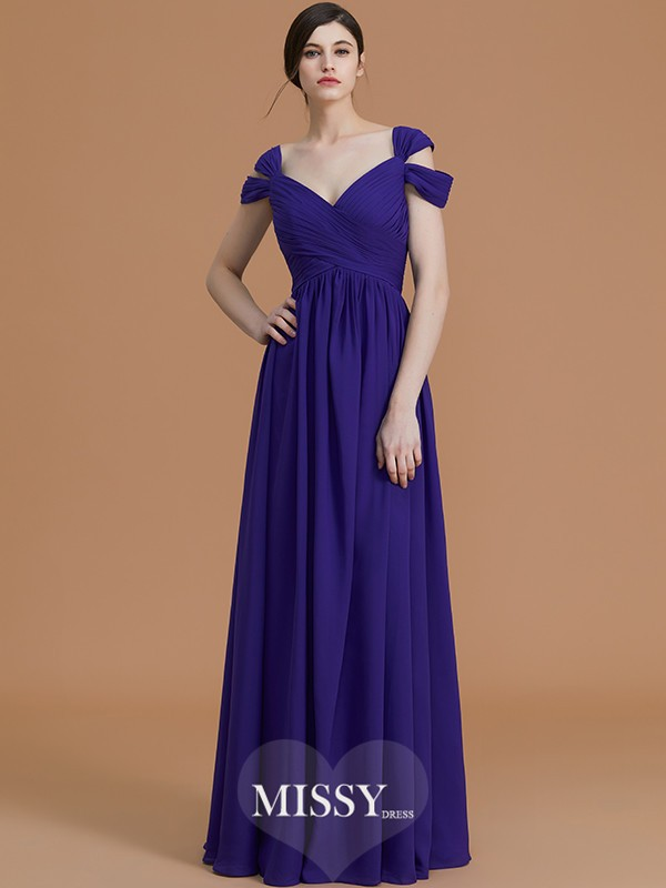 A-Line/Princess Off-the-Shoulder Floor-Length Ruched Chiffon Bridesmaid Dresses
