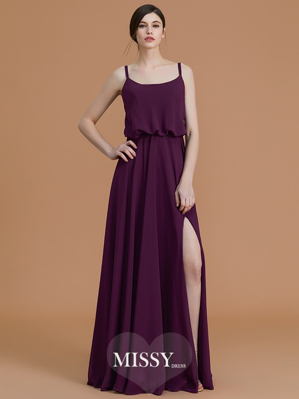 A-Line/Princess Spaghetti Straps Floor-Length Ruffles Chiffon Bridesmaid Dresses