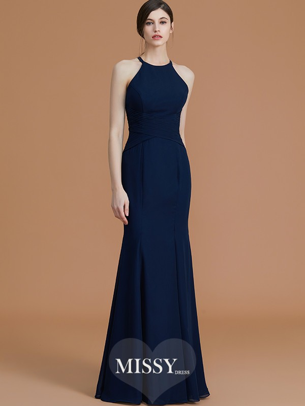 Trumpet/Mermaid Halter Sleeveless Floor-Length Ruched Chiffon Bridesmaid Dresses
