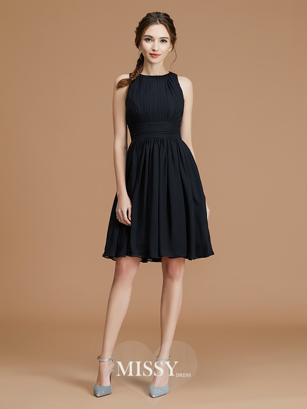A-Line/Princess Bateau Ruffles Short/Mini Chiffon Bridesmaid Dresses