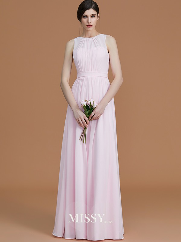 A-Line/Princess Jewel Sleeveless Floor-Length Ruched Chiffon Bridesmaid Dresses