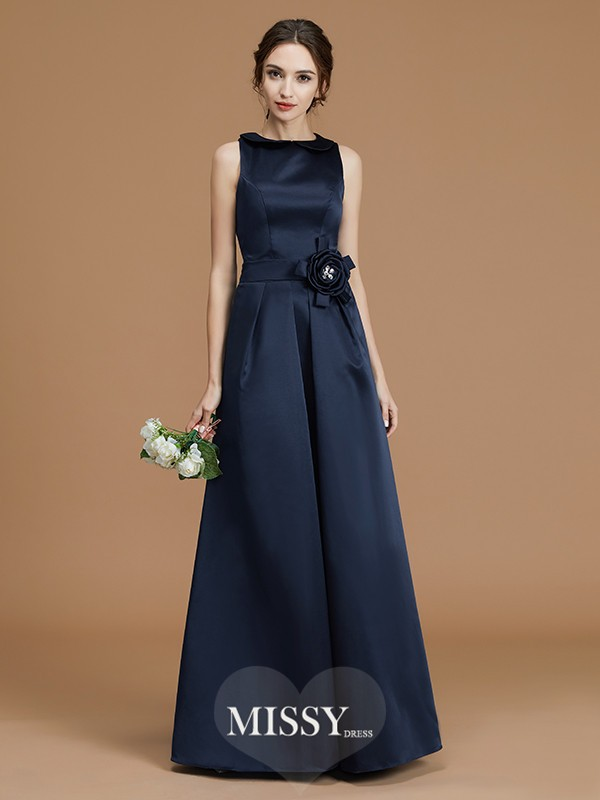 A-Line/Princess Bateau Hand-Made Flower Floor-Length Satin Bridesmaid Dresses
