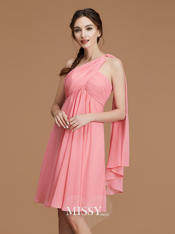 A-Line/Princess One-Shoulder Ruched Short/Mini Chiffon Bridesmaid Dresses