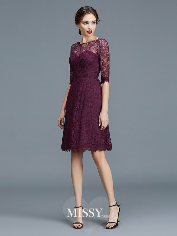 A-Line/Princess Bateau Lace Knee-Length Satin Bridesmaid Dresses