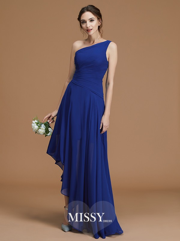 A-Line/Princess One-Shoulder Ruffles Asymmetrical Chiffon Bridesmaid Dresses
