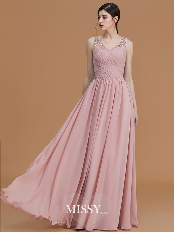 A-Line/Princess V-neck Floor-Length Beading Chiffon Bridesmaid Dresses