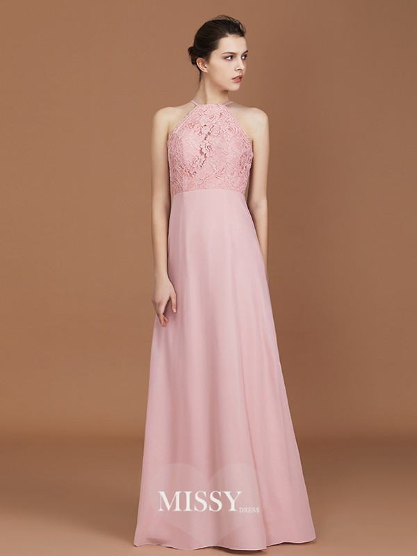A-Line/Princess Halter Lace Floor-Length Chiffon Bridesmaid Dresses