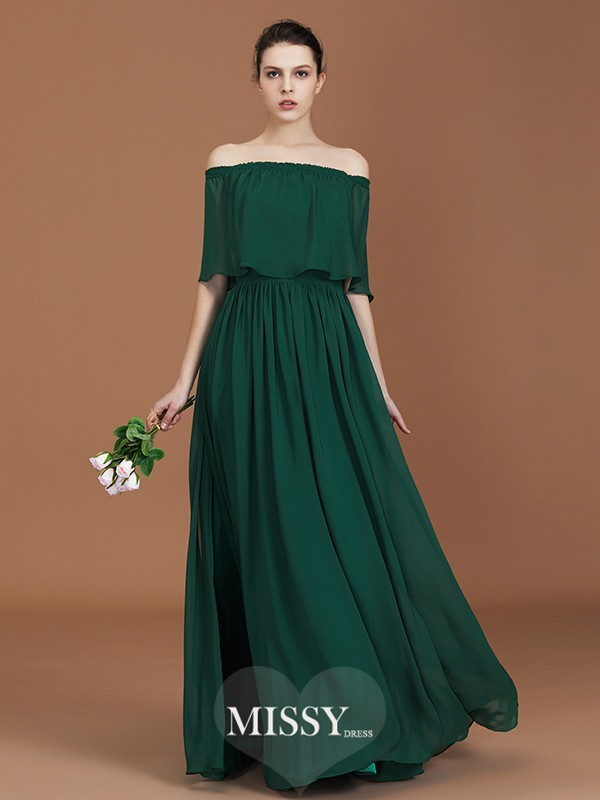 A-Line/Princess Off-the-Shoulder Pleats Floor-Length Chiffon Bridesmaid Dresses