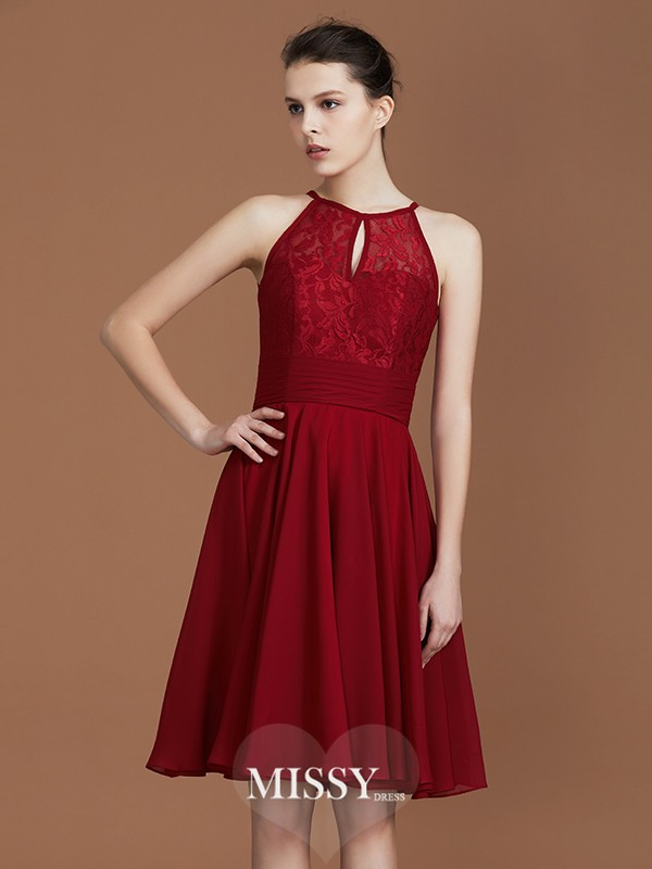 A-Line/Princess Shalterk Lace Knee-Length Chiffon Bridesmaid Dresses