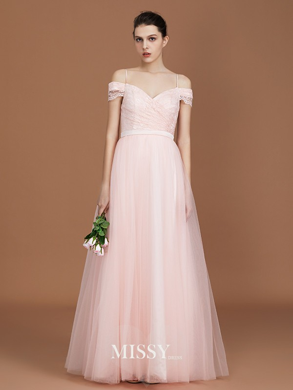 A-Line/Princess Sweetheart Lace Floor-Length Tulle Bridesmaid Dresses