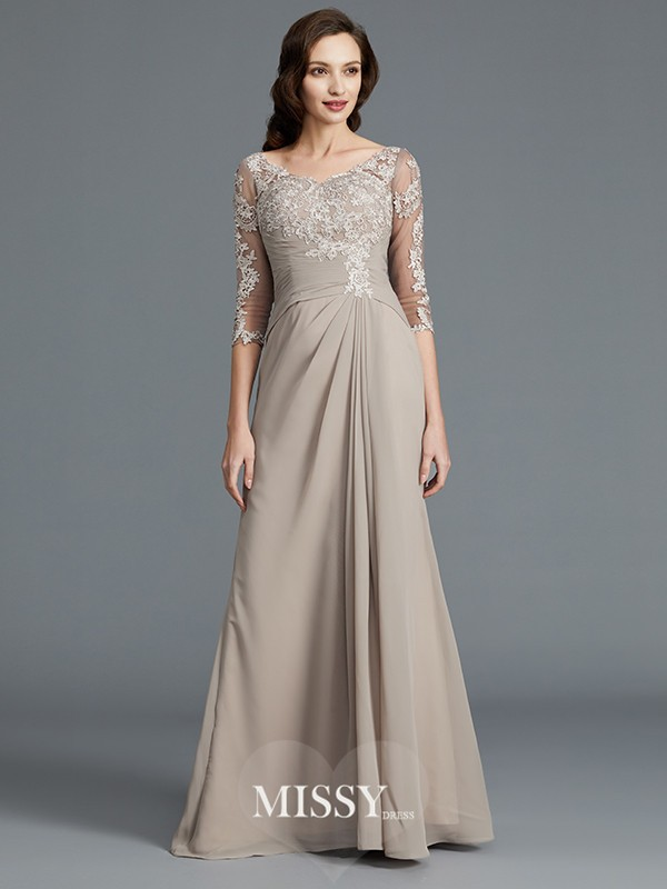 A-Line/Princess 1/2 Sleeves Scoop Applique Chiffon Floor-Length Mother of the Bride Dresses