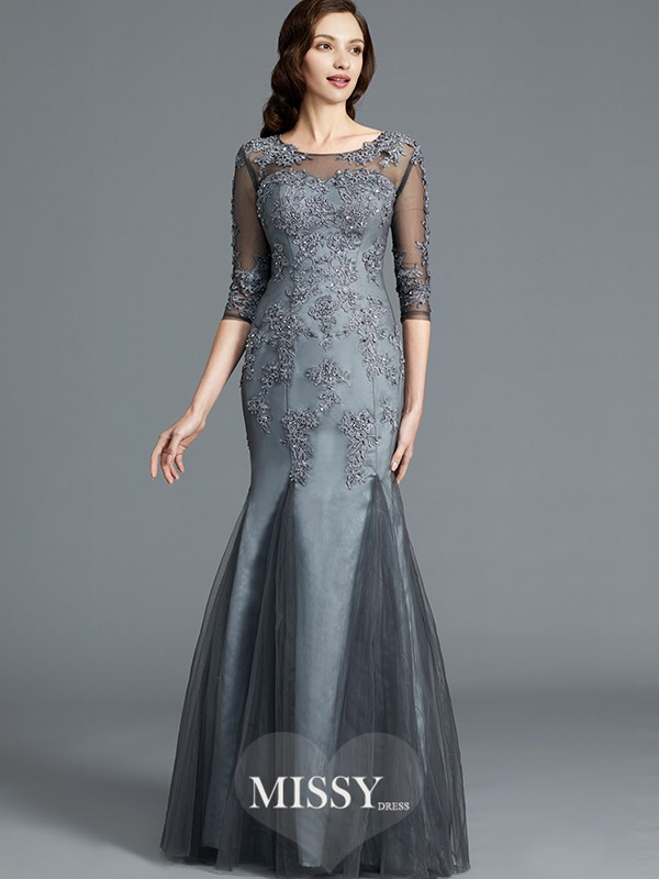 Sheath/Column Scoop Applique 1/2 Sleeves Tulle Floor-Length Mother of the Bride Dresses