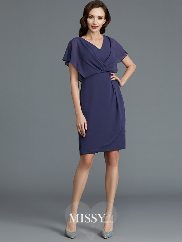 Sheath/Column V-neck Short Sleeves Chiffon Knee-Length Mother of the Bride Dresses