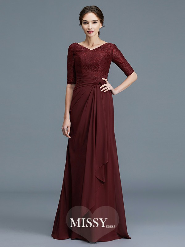 A-Line/Princess V-neck Ruffles Chiffon Floor-Length Mother of the Bride Dresses