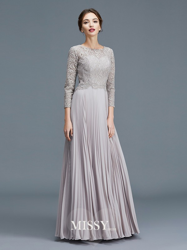 A-Line/Princess Scoop Lace Chiffon Floor-Length Mother of the Bride Dresses