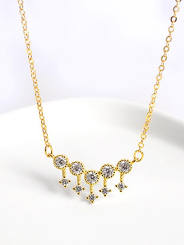 Gorgeous S925 Silver Ladies Necklaces With Rhinestone