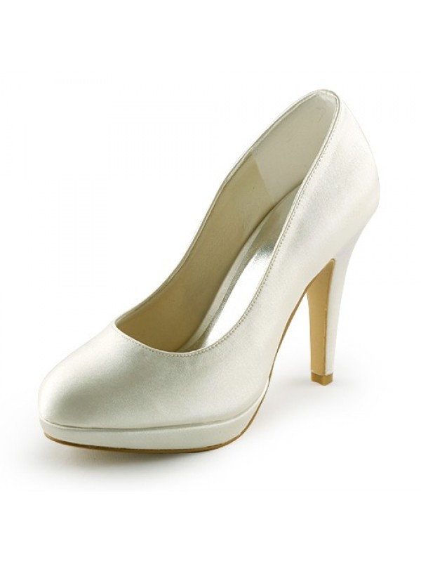 Women's Beautiful Satin Stiletto Heel Closed Toe Platform Wedding Shoes