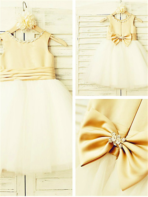 Princess Scoop Sleeveless Bowknot Tea-Length Tulle Flower Girl Dresses