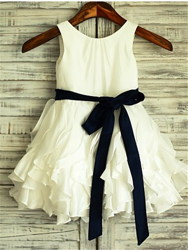 A-line/Princess Scoop Sleeveless Bowknot Tea-Length Chiffon Flower Girl Dress
