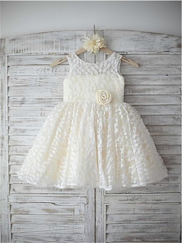 A-line/Princess Sleeveless Scoop Hand-made Flower Floor-Length Lace Flower Girl Dresses