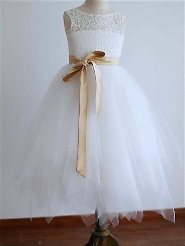 A-line/Princess Scoop Sleeveless Sash/Ribbon/Belt Tea-Length Tulle Little Girl Dresses