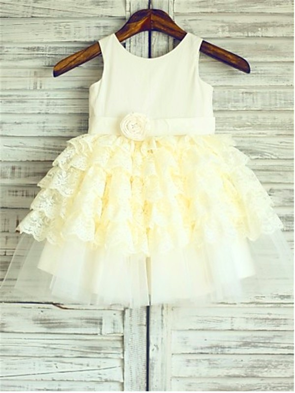 Ball Gown Scoop Sleeveless Layers Tea-Length Lace Little Girl Dresses