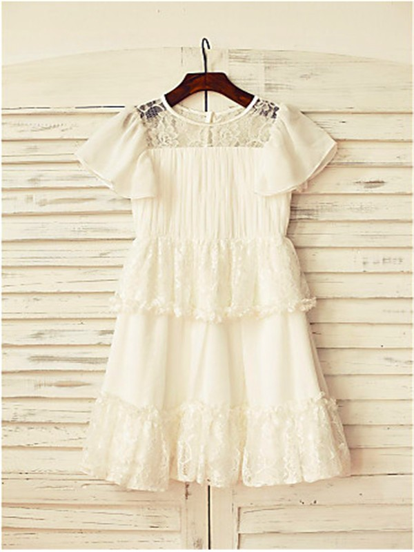 A-line/Princess Scoop Short Sleeves Lace Floor-Length Chiffon Flower Girl Dresses