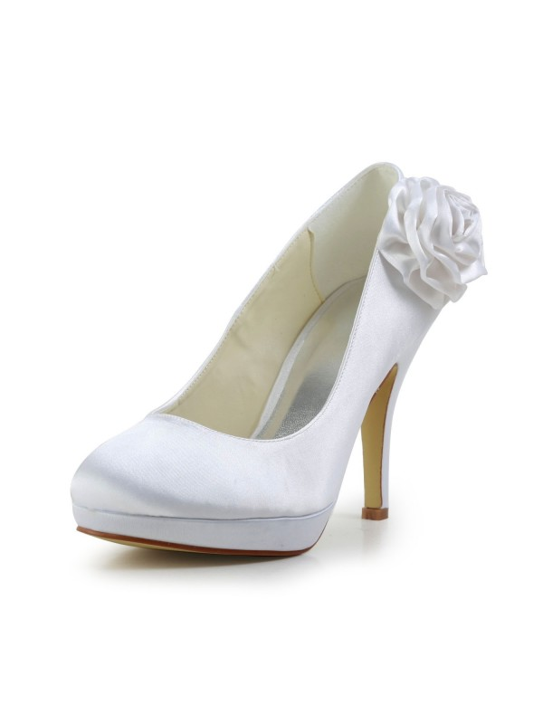 Women's Elegant Satin Stiletto Heel Pumps With Flower Wedding Shoes