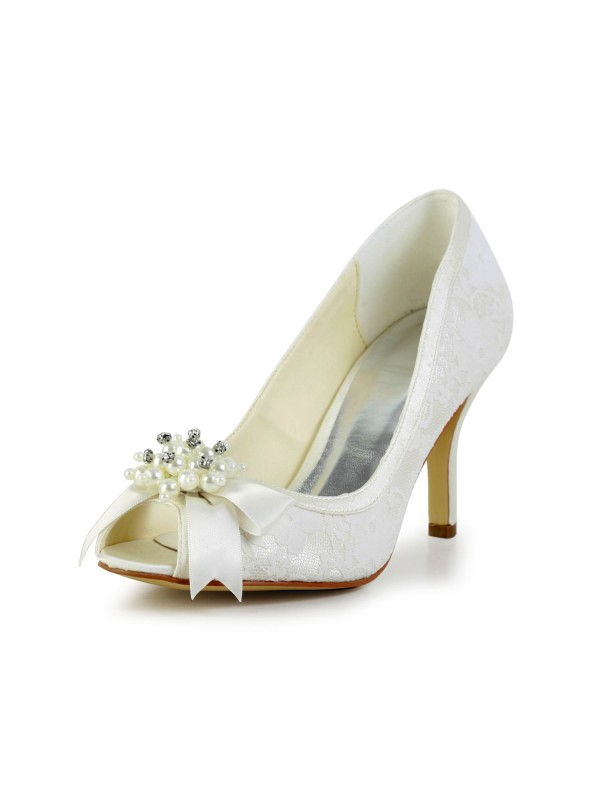 Women's Satin Stiletto Heel Pumps with Imitation Pearl and Bowknot Wedding Shoes