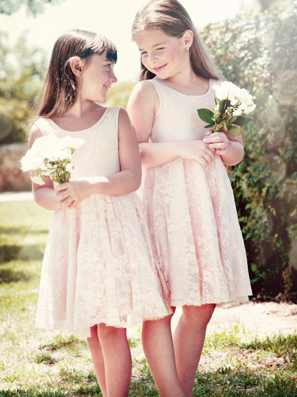 A-Line/Princess Scoop Knee-Length Ruffles Lace Flower Girl Dresses