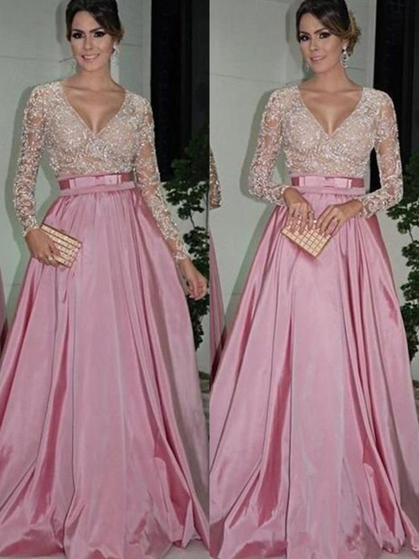 A-Line/Princess V-neck Floor-Length Lace Satin Dresses