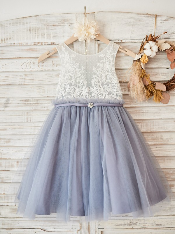 A-Line/Princess Scoop Knee-Length Lace Tulle Flower Girl Dresses
