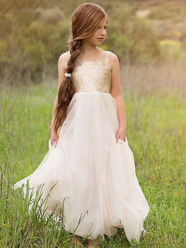 A-Line/Princess Scoop Floor-Length Sequin Tulle Flower Girl Dresses