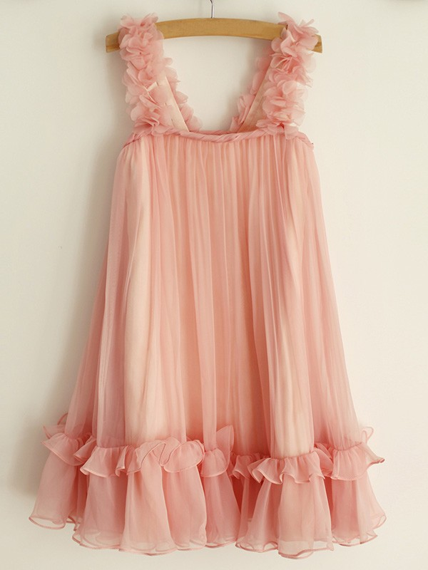 A-Line/Princess Straps Knee-Length Ruffles Chiffon Flower Girl Dresses