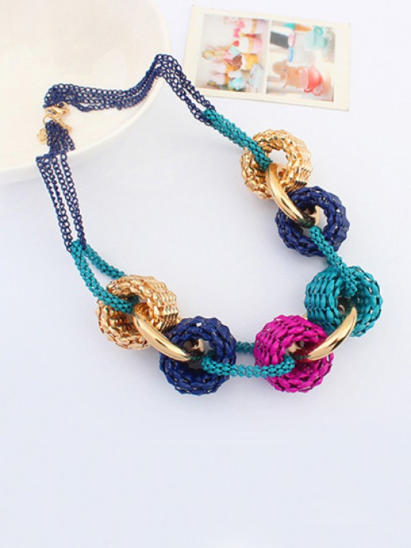 Occident Trendy Retro Metallic Collision color Necklace