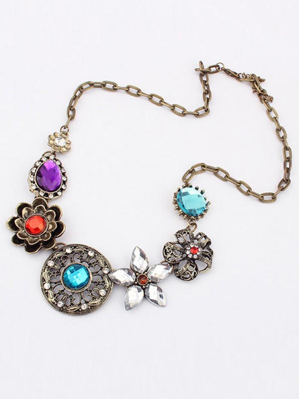 Occident Gorgeous Retro Exquisite Flowers with diamonds Necklace
