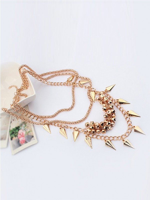 Occident Hyperbolic Stylish Street shooting style Button screw Metallic Multi-layered Necklace
