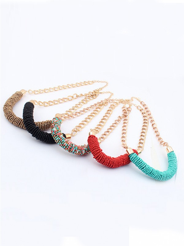 Occident Stylish Multicolor Seed Pearls Handwork Round Tube Necklace
