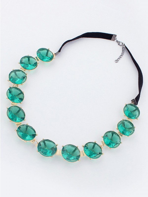 Occident Fashion Colorful round plate Gemstone Necklace